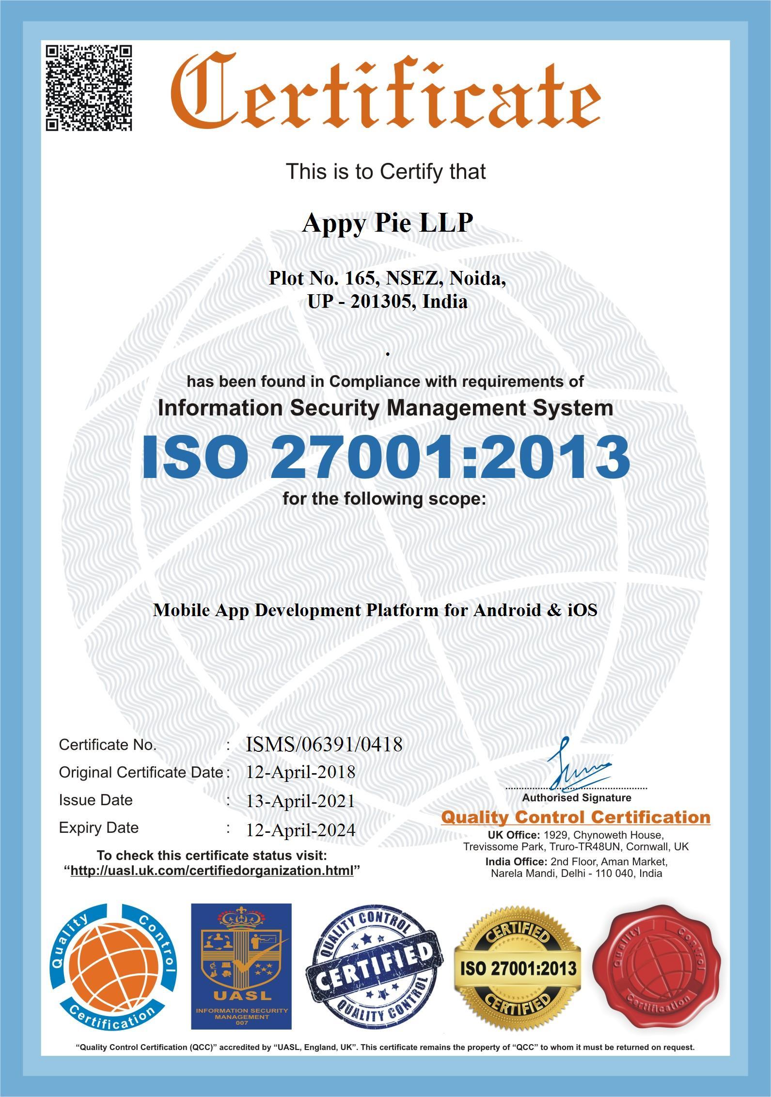 Appy Pie LLP ISO